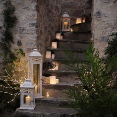 candles and lanterns to decorate outdoor stairs