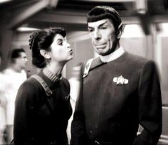 "So she called him ""Dr. Spock"" in her RIP tweet. All is forgiven for showing this behind the scenes still from ST II. I have never seen it before and think it's great!"
