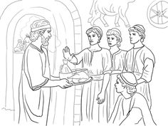 Daniel Makes Good Choices and Refuses King& Food coloring page from Prophet Daniel category. Select from 26388 printable crafts of cartoons, nature, animals, Bible and many more. Bible Story Crafts, Bible Stories, Kids Stories, Bible Lessons For Kids, Bible For Kids, Sunday School Lessons, Sunday School Crafts, Daniel Chapter 1, Daniel Bible Crafts