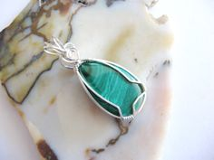 A new pendant I made! African Malachite Wire Wrapped Pendant in Sterling by GemSalad, $45.00