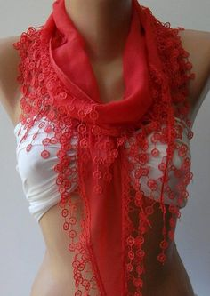 pomegranate flower   Elegance Shawl / Scarf with Lace by womann, $16.90