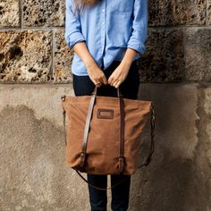 Bleu de Chauffe | Women | Tote bag in Waxed canvas & leather I Cabas Nobu I Made in France