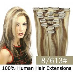 """15"""" 7pcs set Clip-in hair remy Human Hair Extensions #8/613,shop at www.costwe.com"""
