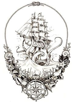Would make a BA thigh piece! Would make a BA thigh piece! Would make a BA thigh piece! Would make a BA thigh piece! 1 Tattoo, Leg Tattoos, Tattoo Drawings, Body Art Tattoos, Cool Tattoos, Tattoo Ship, Pirate Ship Tattoo Thigh, Pirate Tattoo Sleeve, Kracken Tattoo