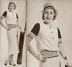 1930s vintage photo print ad dress sportswear day stripes top skirt hat shoes outfit suit  Fashion - Karen Morley