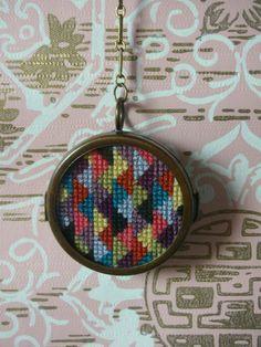Cross Stitch Necklace http://www.etsy.com/listing/84385715/double-sided-cross-stitch-necklace-the
