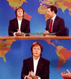 i think Paul McCartney can manage an English accent. Beatles Meme, Les Beatles, Beatles Trivia, John Lennon, Paul Mccartney Beatles, Sir Paul, John Paul, Funny Memes, Hilarious