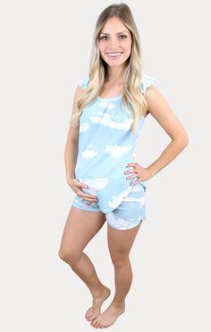 Tie Dye Maternity Pajama Set in Blue - Sexy Mama Maternity Maternity Pajama Set, Maternity Outfits, Pregnancy Months, Comfy Shorts, Blue Tie Dye, Best Mom, Pajamas, Female, Stylish