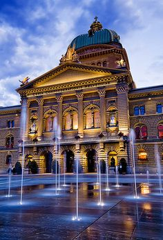 Evening lighting accentuates the Swiss Parliament building in Bern Old Town, Switzerland John & Tina Reid Places Around The World, Oh The Places You'll Go, Travel Around The World, Places To Travel, Places To Visit, Around The Worlds, Glacier Express, Wonderful Places, Beautiful Places