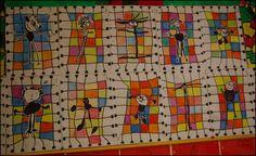 Bonhomme et quadrillage Art For Kids, Crafts For Kids, Arts And Crafts, Kid Art, School Art Projects, Art School, Stepping Stone Crafts, Classe D'art, Kindergarten Art