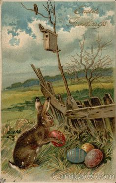 Easter Greetings with Bunny & Eggs With Bunnies