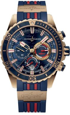 Buy Ulysse Nardin Diver Chronograph Watches, authentic at discount prices. Complete selection of Luxury Brands. All current Ulysse Nardin styles available. Audemars Piguet, Sport Watches, Cool Watches, Men's Watches, Men's Accessories, Ulysse Nardin, Mens Rose Gold Watch, Beautiful Watches, Amazing Watches