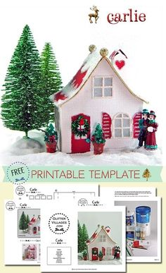 FREE Christmas Village Putz-like printable PDF template by Jeannine Anderson