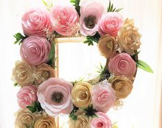 "Floral letter, Large 16"" Paper mache Letter, Shown in blush & gold paper flower letter, Baby shower floral letter, Nursery decor, Wall decor"