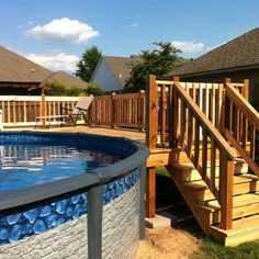 Cedar deck for above ground pool