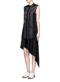 3.1 PHILLIP LIM Silk twill embroidered vest overlay dress