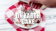 Heaven on Earth Cake with delicious layers of angel cake, sour cream pudding, cherry pie filling, whipped topping, and almonds. Creamy and decadent, this cherry trifle is a sure crowd pleaser! Angel Food Cake Trifle, Trifle Cake, Trifle Desserts, Dessert Salads, Trifle Recipe, Angle Food Cake Recipes, Fudge Recipes, Frosting Recipes, Strawberry Dessert Recipes