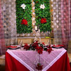 Decoração de mesa de Natal.