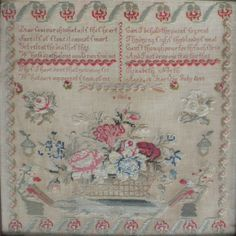 A 19th Century ENGLISH WoolWork Sampler Stitched By Elizabeth North & Dated 1848