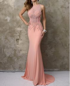 Wedding Dresses Ball Gown, Alluring Chiffon Jewel Neckline Mermaid Evening Dresses With Beadings DressilyMe Formal Dresses For Women, Formal Gowns, Girls Dresses, Dresses Dresses, Long Gowns, Long Dresses, Dress Long, Mermaid Evening Dresses, Evening Gowns