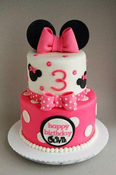 Brilliant Image of Minnie Birthday Cake . Minnie Birthday Cake Happy Birthday Olivia A 68 Minnie Mouse Cake Filled With Minni Mouse Cake, Bolo Do Mickey Mouse, Minnie Mouse Birthday Cakes, Minnie Cake, 3rd Birthday Cakes, Pink Minnie, Birthday Ideas, Third Birthday, Disney Mickey