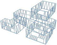 Axonometrie des Stahlskeletts der Architekturschule Straßburg