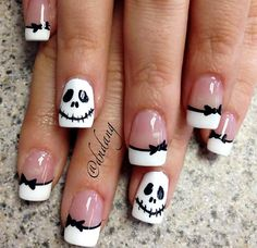 black white skellington french halloween nails latest nail art designs gallerynail designs for short nails easy kiss nail stickers nail art stickers how to apply best nail polish strips 2019 Diy Halloween Nails, Halloween Nail Designs, Halloween Skull, Pretty Halloween, Women Halloween, Halloween Recipe, Costume Halloween, Halloween Crafts, Halloween Makeup
