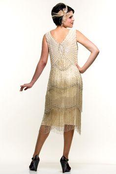 Ivory & Silver Beaded Fringe Reproduction Flapper Dress - Unique Vintage - Prom dresses, retro dresses, retro swimsuits.