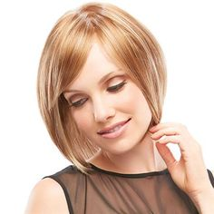 Linda -   SMARTLACE COLLECTION by Jon Renau   This short bob sharpens a classic style with the posh look of blunt or side-swept bangs. The SmartLace front and monofilament cap ensure a natural, comfortable fit.