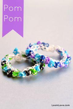 pom pom rainbow loom bracelet