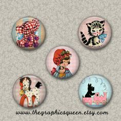 50% Off SALE! Vintage Baby Shower Bottle Cap Images for Pendants ATC 1 inch Buttons Digital Collage Sheet for Round Images Jewelry Supplies by TheGraphicsQueen