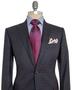 Belvest Slate Blue with Red Plaid Sportcoat