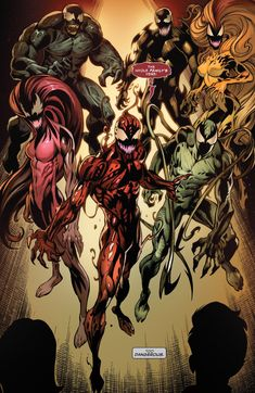 The symbiote family. Carnage, Lasher, Scream, Agony, Riot, and Phage