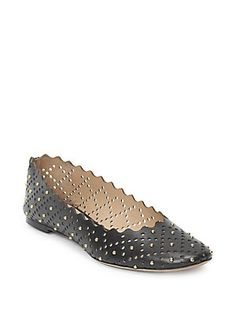 fc6521253e5c Chloé - Lauren Perforated   Studded Leather Ballet Flats