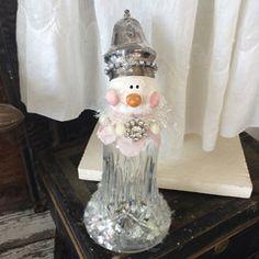 Jumbo Vintage Silver Salt & Pepper Shaker Snowman with Vintage Rhinestones