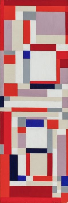 Pomoeian Red, 1951. Ilya Bolotowsky (1901-1981) was a leading early 20th-century painter in abstract styles in New York City. His work, a search for philosophical order through visual expression, embraced cubism and geometric abstraction and was much influenced by Dutch painter Piet Mondrian.   In 1936 Bolotowsky co-founded American Abstract Artists, a cooperative formed to promote the interests of abstract painters and to increase understanding between themselves and the public.