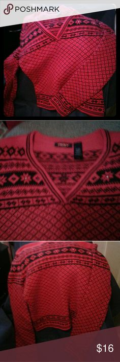 DKNY active Ladies small sweater Very soft but small short waisted with long sleeve, just does not fit me right. Red with dark blue design. I added the beads but easy to remove. DKNY Sweaters Crew & Scoop Necks