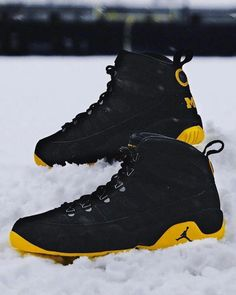 "259d950e6ac3 Air Jordan 9 Retro ""Michigan"" - EU Kicks Sneaker Magazine   MensFashionSummer  MensFashionSneakers"