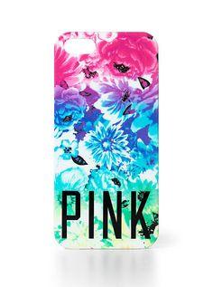 Victoria's Secret PINK: Hard iPhone® Case in rainbow ombré floral