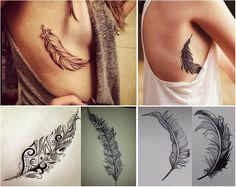 """Tatouage plume """"feather"""" : du côté droit, pointe vers le haut, la plume soulignant la forme du sein et en motif je ne sais pas encore si je prend un modèle simple ou bien avec des motifs à l'intérieur. Remplissage léger en noir."""