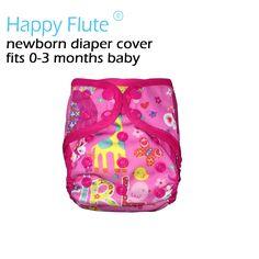 Glücklich Flöte neugeborenen schnapp tuch windel abdeckung für NB baby, doppel gussets, wasserdicht und atmungsaktiv, fit 0-3months baby oder 6-19 £