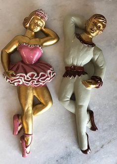 Beautiful Pair Of Chalkware Ballerina Dancers, Wall Hung. Please see all in area Mid Century Bedroom, Dancers, Ballerina, 1960s, Pairs, Trending Outfits, Unique Jewelry, Handmade Gifts, Wall