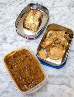 Easy lunch box ideas: chili; birthday cake; and apple-pear crisp. http://www.LunchBoxBlues.com