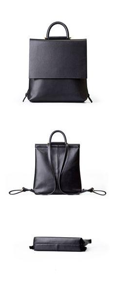 Handmade Leather Backpack Girl Backpack Casual Backpack •Adjustable shoulder strap. •Magnet closure •Brass hardware. •Length: 33cm; Height: 31cm; Width: 8.5cm; •Color: Black