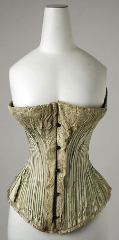 Corset with Lace Edging, American, c. 1890.