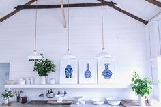 Lino Design, Vine Leaves, Urn, Three Dimensional, Vines, Contemporary Art, Blue And White, Frame, Artist