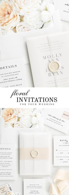 The Serif Romance wedding invitation suite is paired with Grace florals. Grace features white and ivory garden roses and white spray roses.