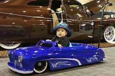 pedal car at the Grand National Roadster Show 2015 Car Jokes, Miniature Cars, Power Cars, Kids Ride On, Stylish Sunglasses, Pedal Cars, Lowrider, Go Kart, Custom Cars