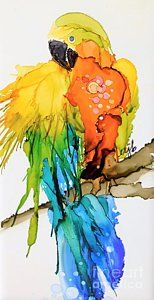 Alcohol Ink Painting - Macaw Mixer by Marla Beyer