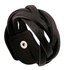 Black Color Punk Genuine Leather Buckle Bracelet Handmade Braided Wrap Bracelet Bangles Fashion For Women Men